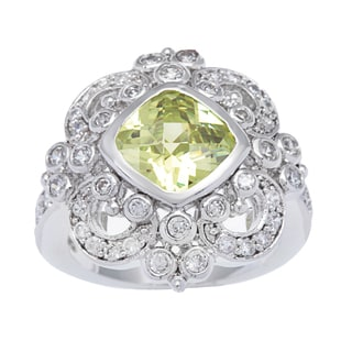 Kate Bissett Silvertone Cushion Cut Green Cubic Zirconia Cocktail Ring