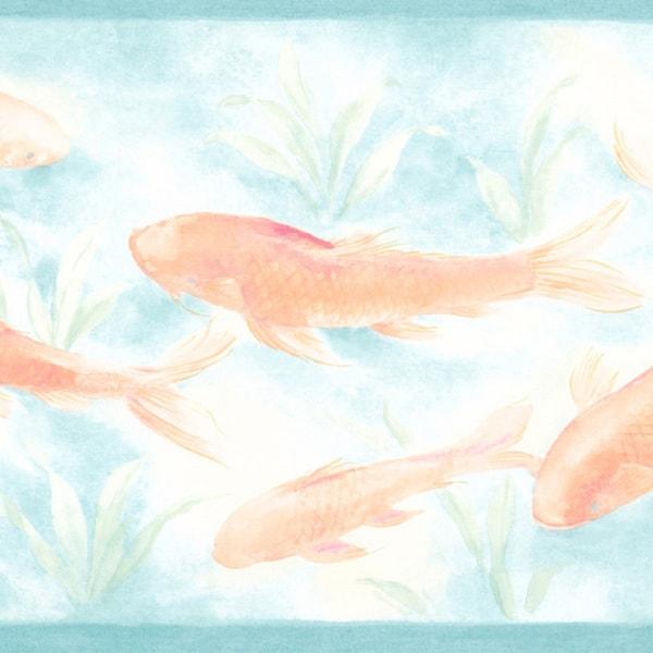 Aqua Koi Fish Border Wallpaper