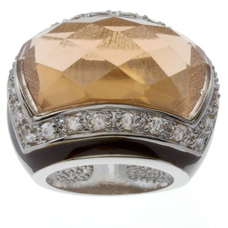 Kate Bissett Silvertone Champagne Cubic Zirconia and Dark Brown Enamel Ring