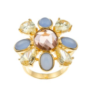 Kate Bissett 14k Gold Overlay Cubic Zirconia Flower Cocktail Ring