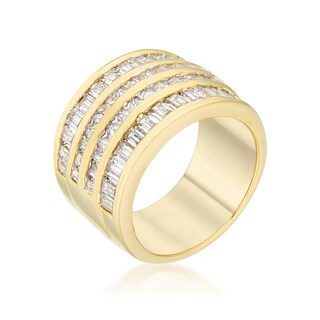 Kate Bissett 14k Gold Overlay Clear Cubic Zirconia Multi-row Ring (4 options available)