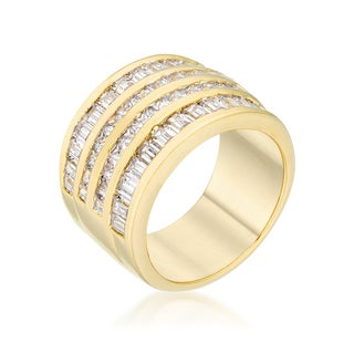 Kate Bissett 14k Gold Overlay Clear Cubic Zirconia Multi-row Ring