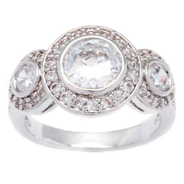 Kate Bissett Silvertone Halo Cubic Zirconia Anniversary Ring