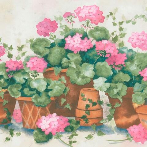 Pink Terra Cotta Potted Flower Border Wallpaper