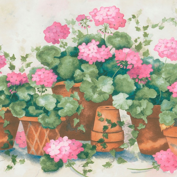 Pink Terra Cotta Potted Flower Border Wallpaper
