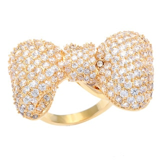 Kate Bissett 14k Gold Overlay Pave Cubic Zirconia Bow Fashion Ring