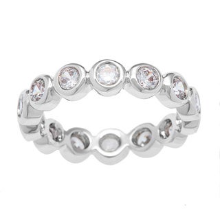 Link to Kate Bissett Silvertone Bubbles Cubic Zirconia Stackable Eternity Band Similar Items in Rings