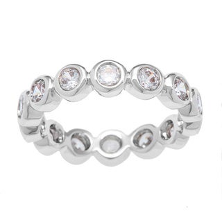 Kate Bissett Silvertone Bubbles Cubic Zirconia Stackable Eternity Band