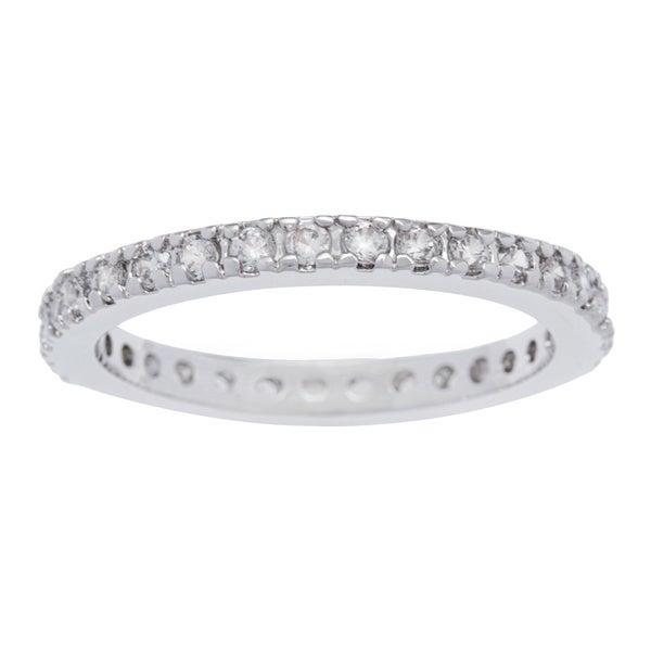 Kate Bissett Silvertone 2MM Cubic Zirconia Stackable Eternity Band. Opens flyout.