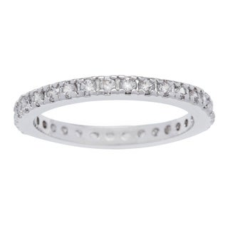 Kate Bissett Silvertone 2MM Cubic Zirconia Stackable Eternity Band
