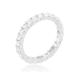 Kate Bissett Silvertone 3MM Cubic Zirconia Stackable Eternity Band (5 options available)