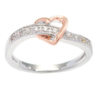 Kate Bissett Silvertone Rose Gold Plated Heart Cubic Zirconia Cocktail Ring