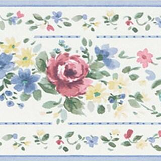 Blue Floral Stripe Border Wallpaper