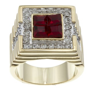 Kate Bissett 14k Gold Overlay Red and Clear Cubic Zirconia Fashion Ring