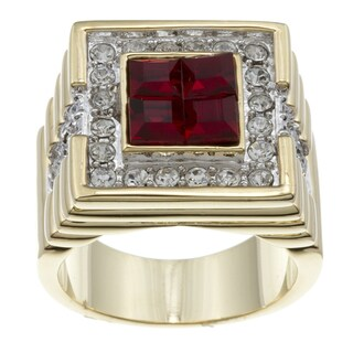 Kate Bissett 14k Gold Overlay Red and Clear Cubic Zirconia Fashion Ring (4 options available)