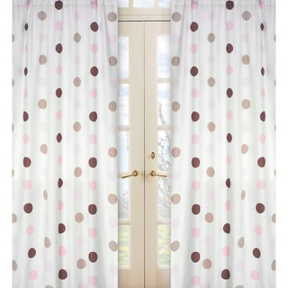 Sweet Jojo Designs Pink, Cocoa, White and Chocolate Brown Mod Dots 84-inch Window Treatment Curtain Panel Pair