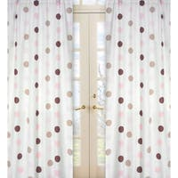 Sweet Jojo Designs Pink, Cocoa, White and Chocolate Brown Mod Dots 84-inch Window Treatment Curtain Panel Pair - 42 x 84