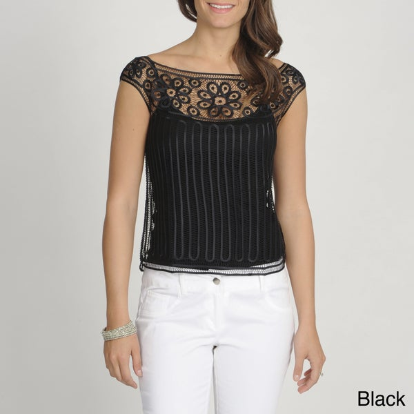 Soulmates Women's Silk Crocheted Sheer Top