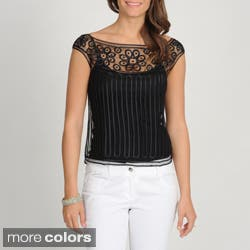 Soulmates Women's Silk Crocheted Sheer Top|https://ak1.ostkcdn.com/images/products/7785402/Soulmates-Womens-Silk-Crocheted-Sheer-Top-P15179822.jpg?impolicy=medium