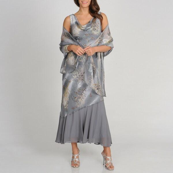 Soulmates Women's Grey Branch Print Silk Blend Sleeveless Cowl Dress
