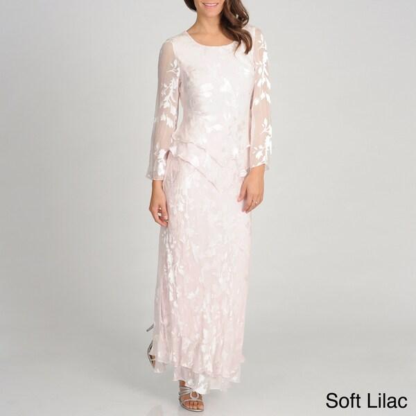Soulmate Women's Silk Blend Sheer Sleeve Floral Gown