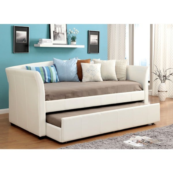 furniture of america buckies contemporary leatherette day bed with rolling with trundle free. Black Bedroom Furniture Sets. Home Design Ideas