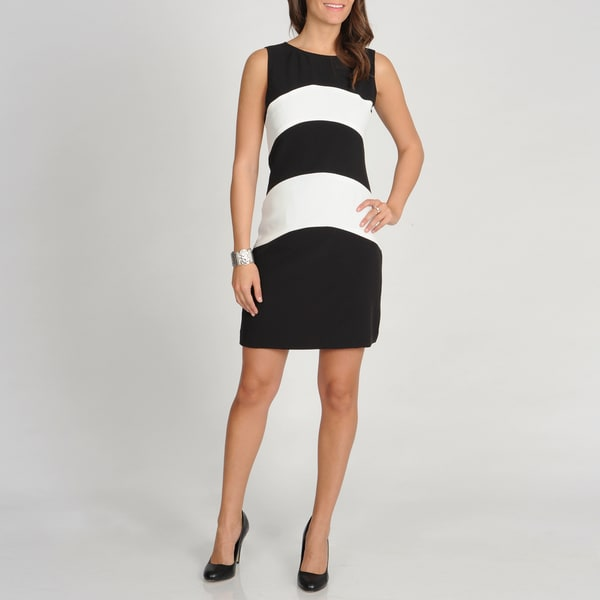 Sharagano Women's Black and White Colorblocked Sleeveless Dress