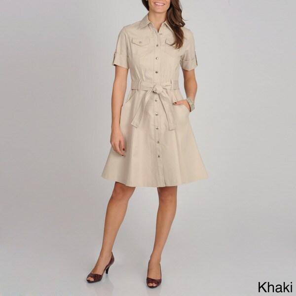 Sharagano Women's Full-skirt Short Sleeve Shirtdress