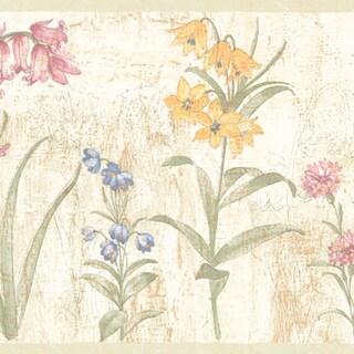Mauve Flower Border Wallpaper