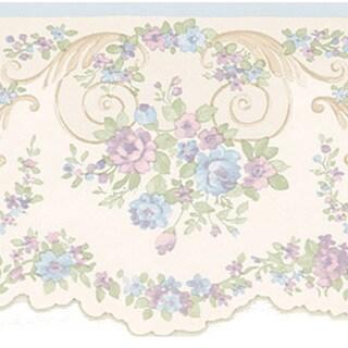 Lavender Floral Scroll Border Wallpaper
