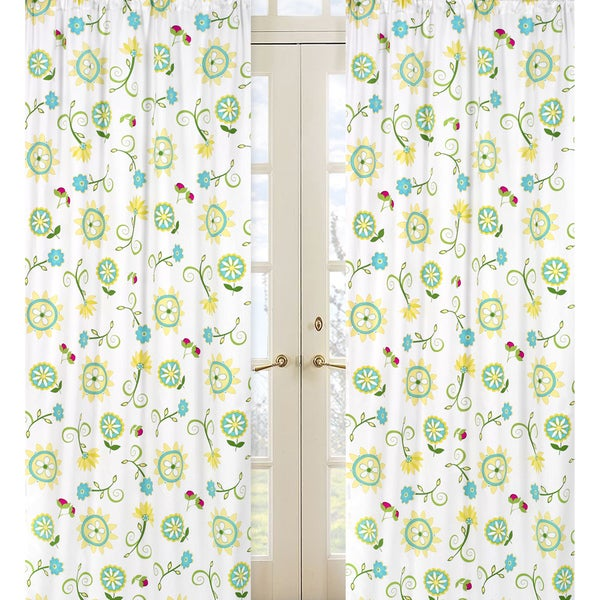 Sweet Jojo Designs Turquoise, Green, Yellow, Pink and White 84-inch Window Treatment Curtain Panel Pair for Layla Collection