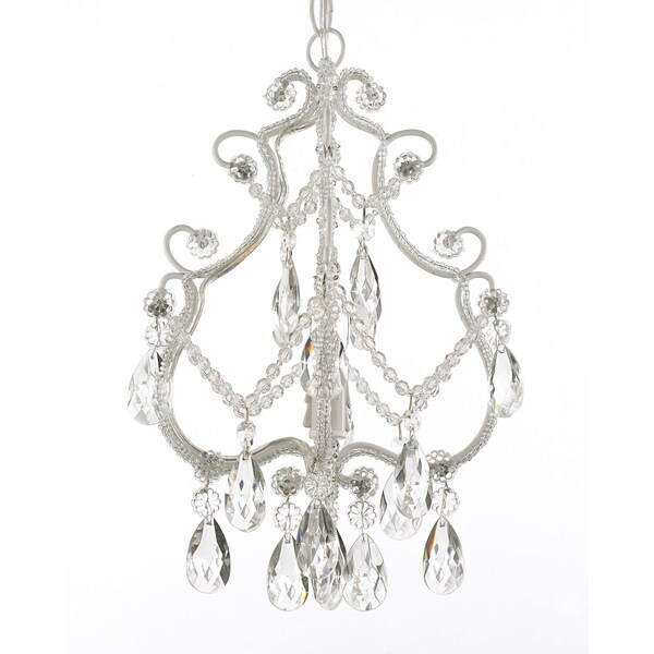 Gallery 1 Light White Wrought Iron And Crystal Chandelier