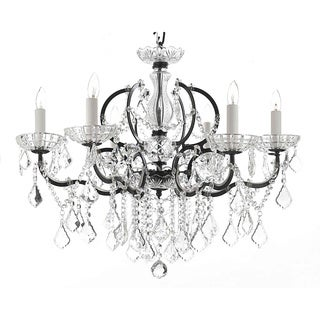 Gallery Rococo 19th C 6-light Black Wrought Iron and Crystal Chandelier