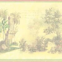 Yellow Tropical Toile Border Wallpaper