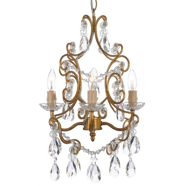 Gallery 4-light Wrought Iron and Crystal Chandelier Gold Hardwire and Plug In