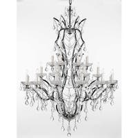Gallery Rococo 19th C 25-light Black Wrought Iron and Crystal Chandelier