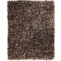 Jani Modern Speckled Brown Paper Shag Rug - 8' x 10'