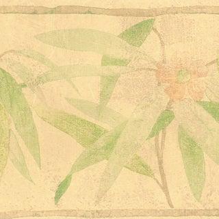 Beige Bamboo Flower Border Wallpaper