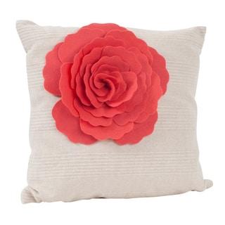 Flower Design 17-inch Decorative Throw Pillow