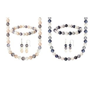 Sterling Silver Multi-Colored Freshwater Cultured Pearl Necklace, Bracelet and Earring Set (8-8.5 mm)