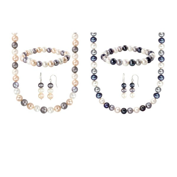Sterling Silver Multi Colored Freshwater Cultured Pearl Necklace Bracelet And Earring Set 8