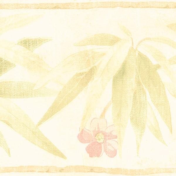 Light Green Bamboo Flower Border Wallpaper