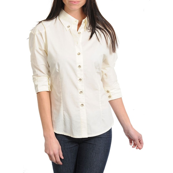Stanzino Women's Cream 3/4-sleeve Button-down Shirt - Free ...