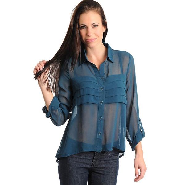 Stanzino Women's Teal Sheer Button-down Long Sleeve Top