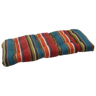 Pillow Perfect Westport Polyester Teal Wicker Outdoor Loveseat Cushion