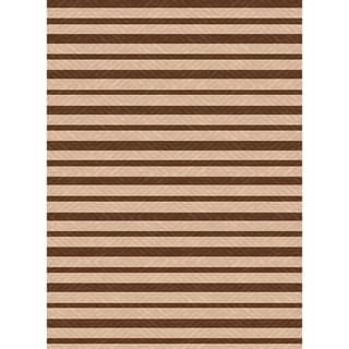Indoor/ Outoor Rug Summer Stripe Beige and Brown Area Rug (2'7 x 5'11)