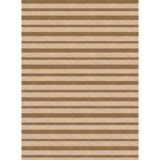 Indoor/ Outoor Rug Summer Stripe Brown and Beige Area Rug (2'7 x 5'11)