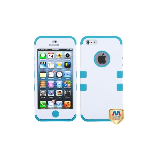 MYBAT White/ Tropical Teal Skin Tuff Hybrid Case for Apple iPhone 5