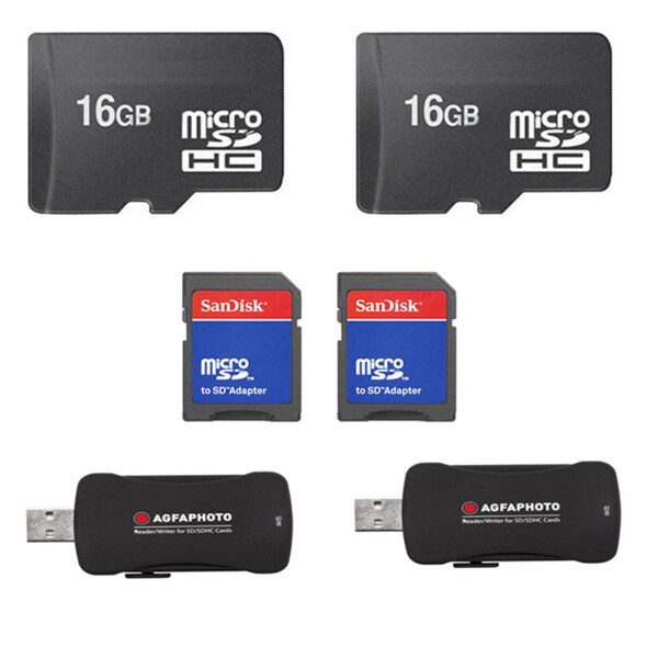 16GB MicroSD Memory Card/ USB 2.0 High Speed Card Reader Bulk (Pack of 2)