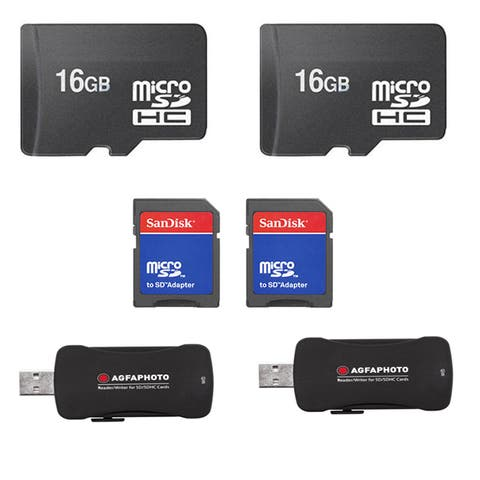 16GB MicroSD Memory Card/ USB 2.0 High Speed Card Reader Bulk (Pack of 2)